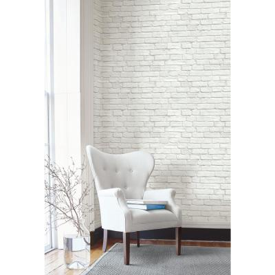 Vintage White Brick Peel and Stick Wallpaper