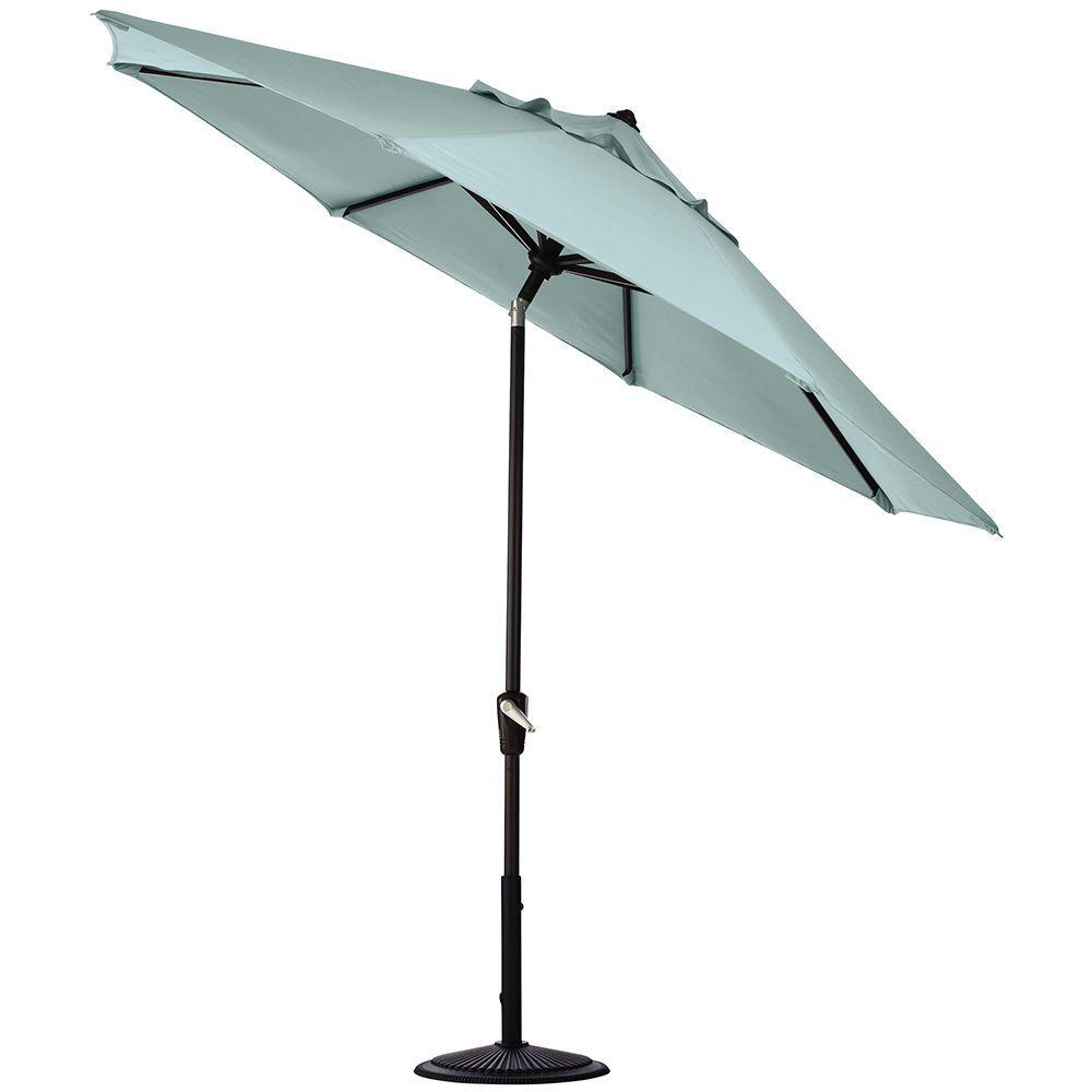 Home Decorators Collection 11 ft. Auto-Tilt Patio Umbrella in Mist Sunbrella with Black Frame