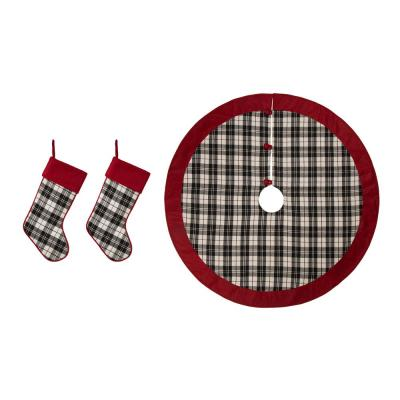 Set of 3 Black and White Plaid Fabric Christmas Decoration (20 in. Stocking and 48 in. Tree Skirt)