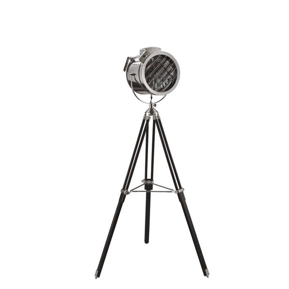 Adjule Black Tripod Hollywood Spotlight Chrome Silver Floor Lamp