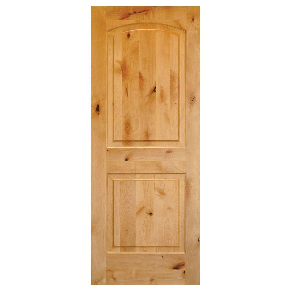 Krosswood Doors 28 in. x 80 in. Rustic Knotty Alder 2-Panel Top Rail Arch Solid Core Wood Left-Hand Single Prehung Interior Door