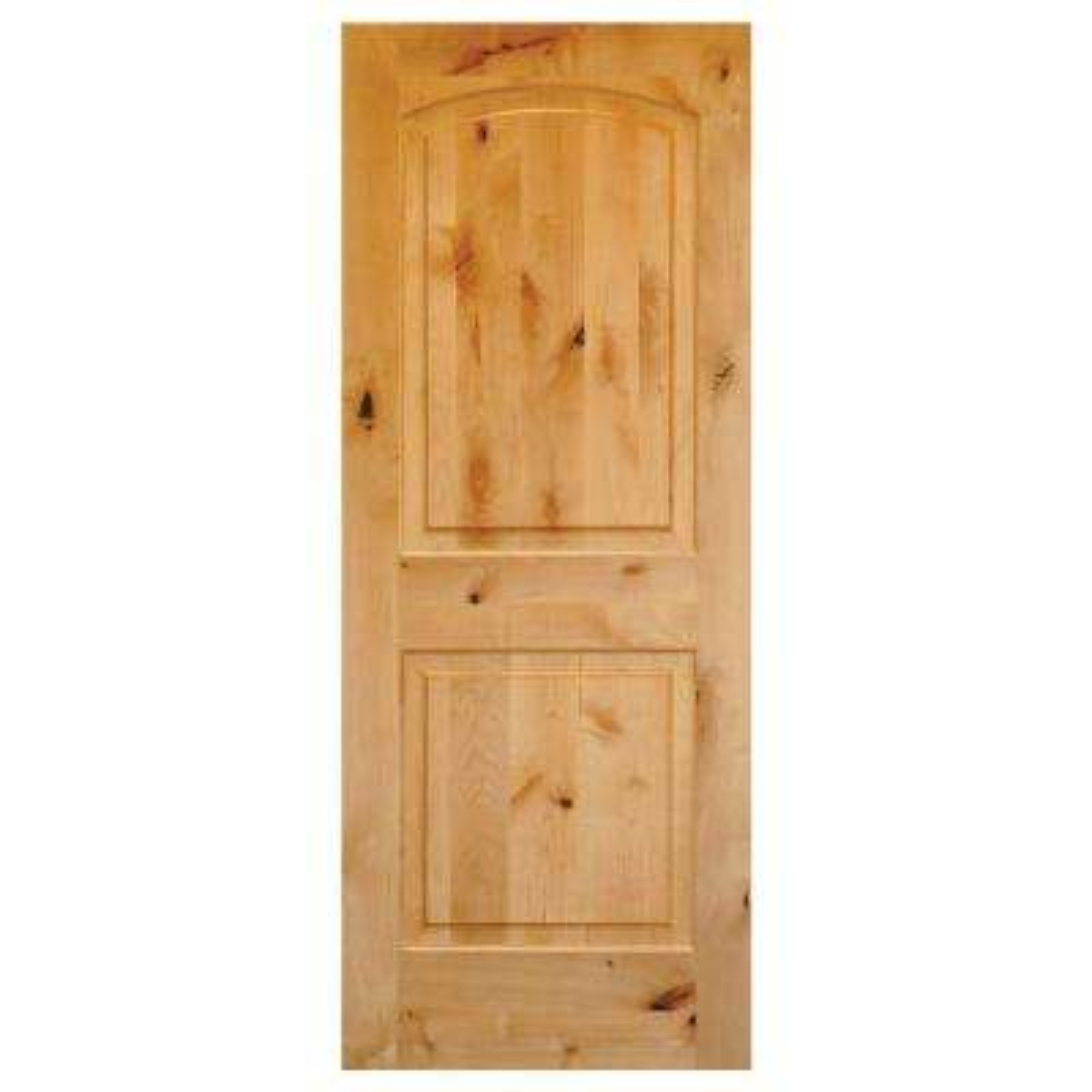 Rustic Knotty Alder 2-Panel Top Rail Arch Solid Wood Core Single Prehung Interior Door