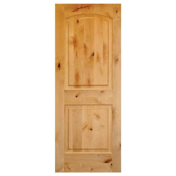 32 in. x 80 in. Rustic Knotty Alder 2-Panel Top Rail Arch Solid Core Wood Stainable Interior Door Slab