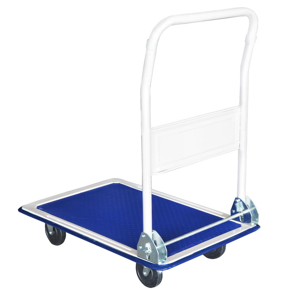 SteelCore Steel Core 330 lbs. Capacity Metal Folding Platform Cart and Dolly, Blue
