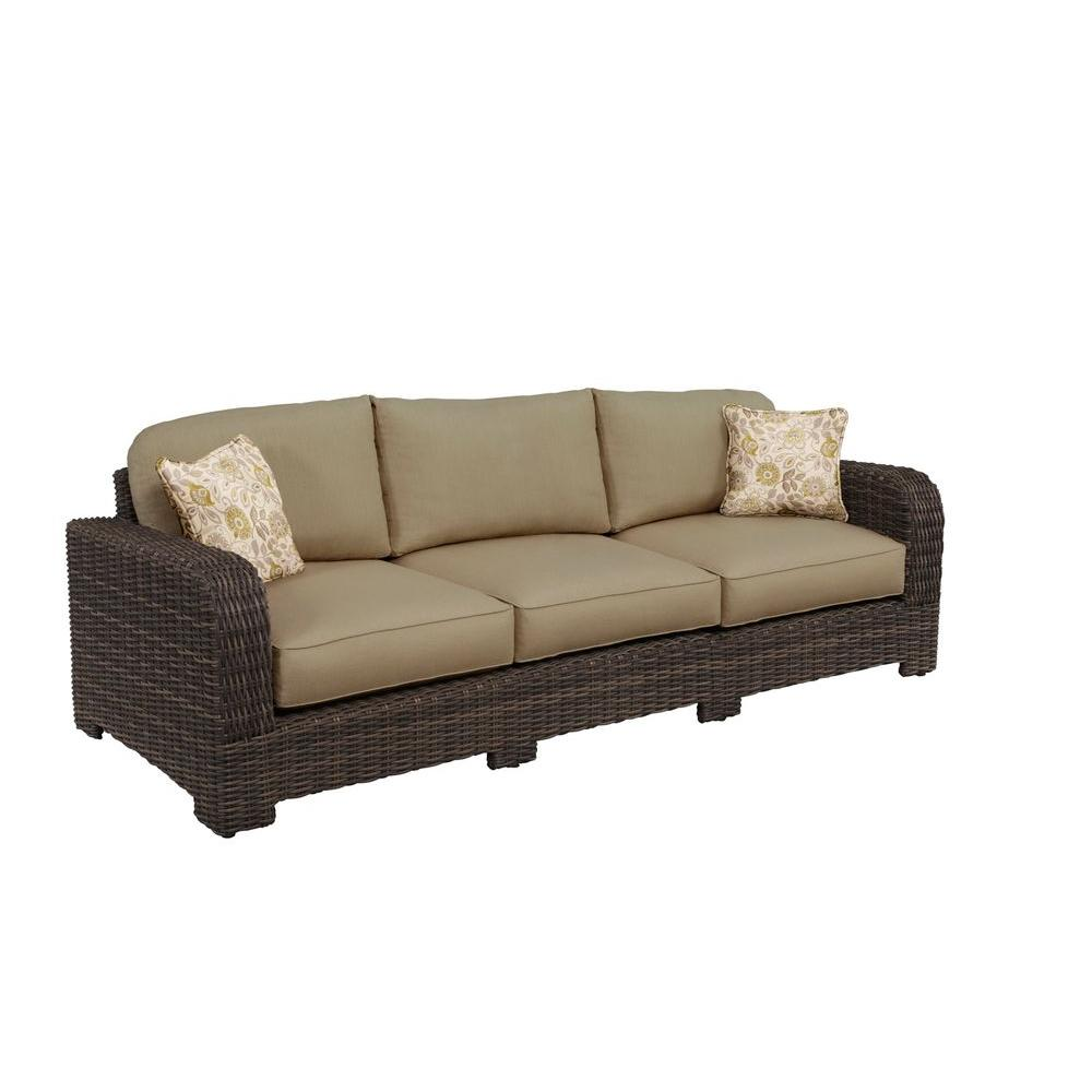 Brown Jordan Northshore Patio Sofa with Meadow Cushions and Aphrodite Spring Throw Pillows -- CUSTOM