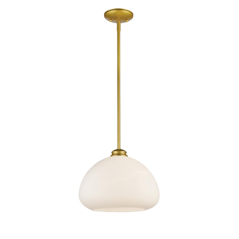 Amonte 1-Light Satin Gold Pendant with Matte Opal Glass Shade