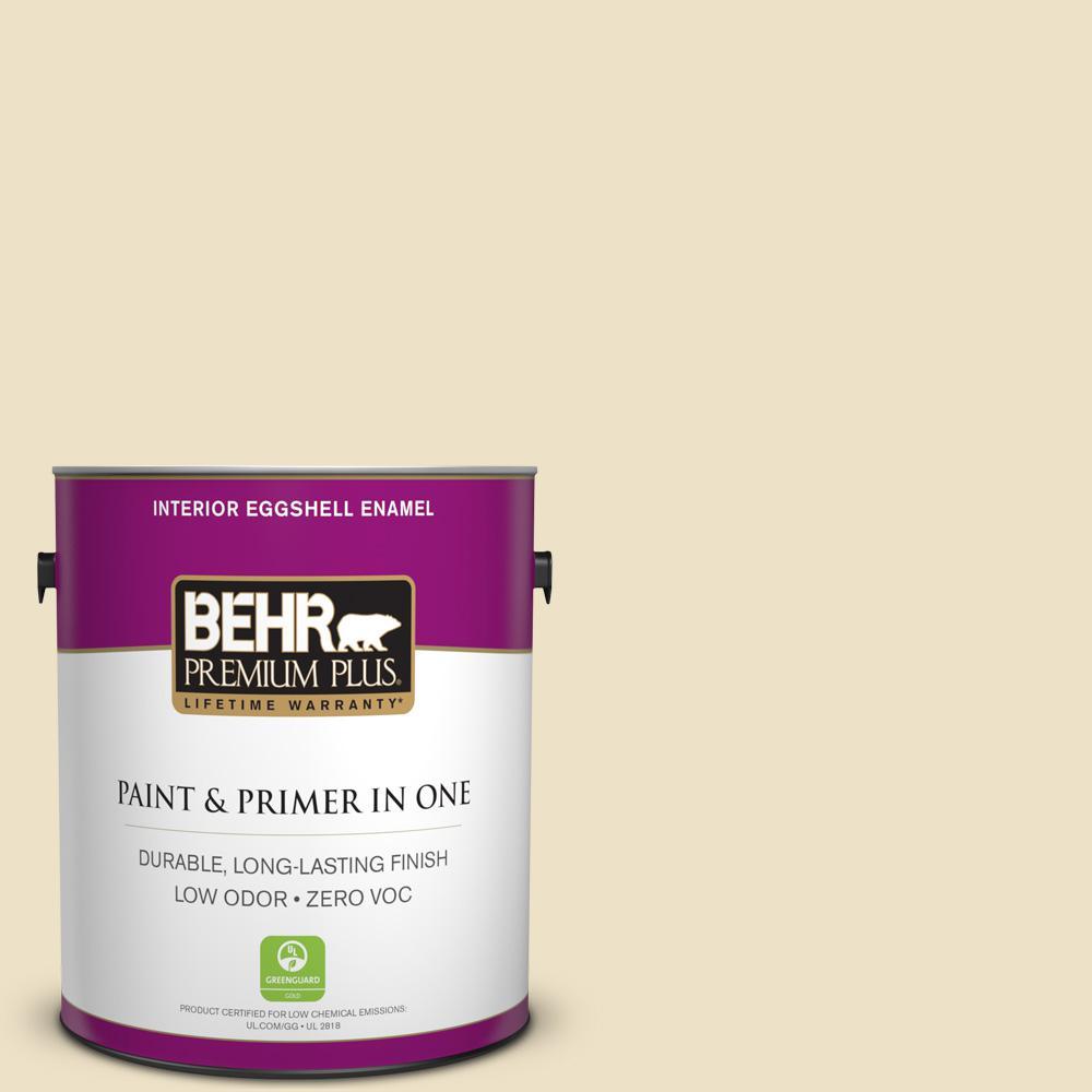 BEHR Premium Plus 1-gal. #370E-2 Cream Silk Zero VOC Eggshell Enamel Interior Paint