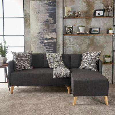 2-Piece Muted Dark Gray Fabric Sectional