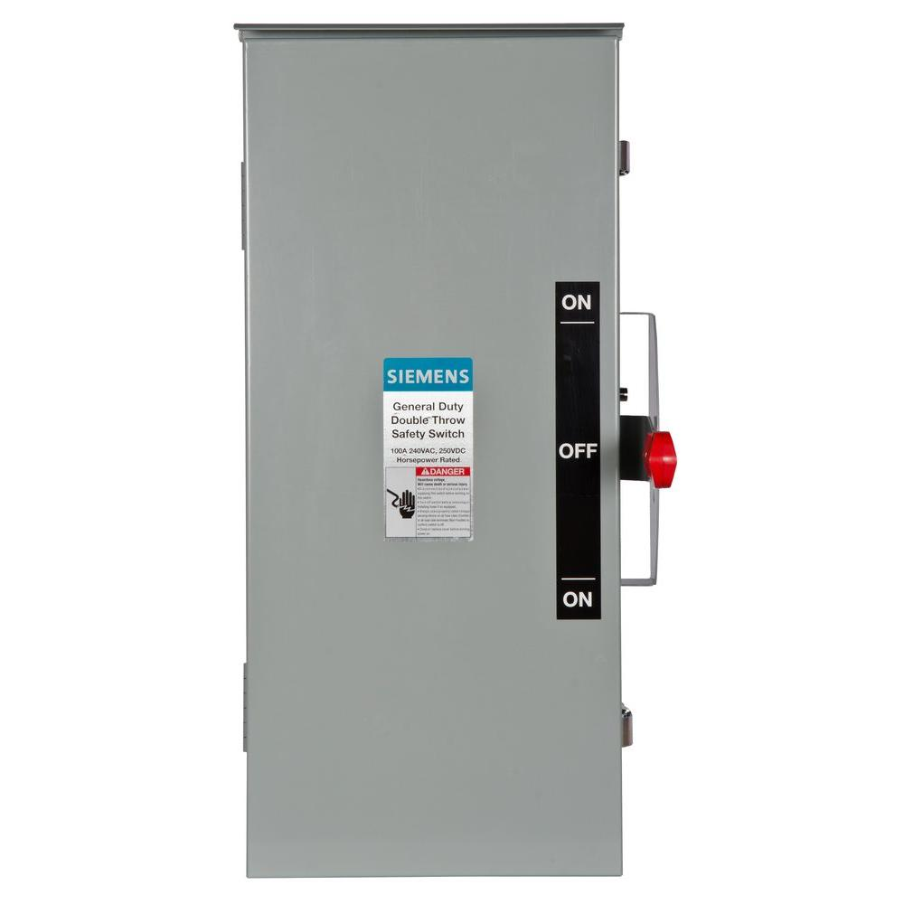 Siemens General Duty Double Throw 100 Amp 240-Volt 2-Pole Outdoor ...