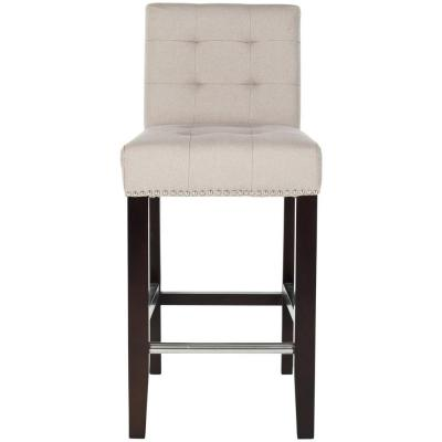 Thompson 25.8 in. Taupe Cushioned Bar Stool