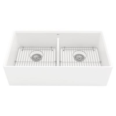 Avery Dual Mount Apron-Front Fireclay 36 in. Double Bowl Kitchen Sink in Alabaster White