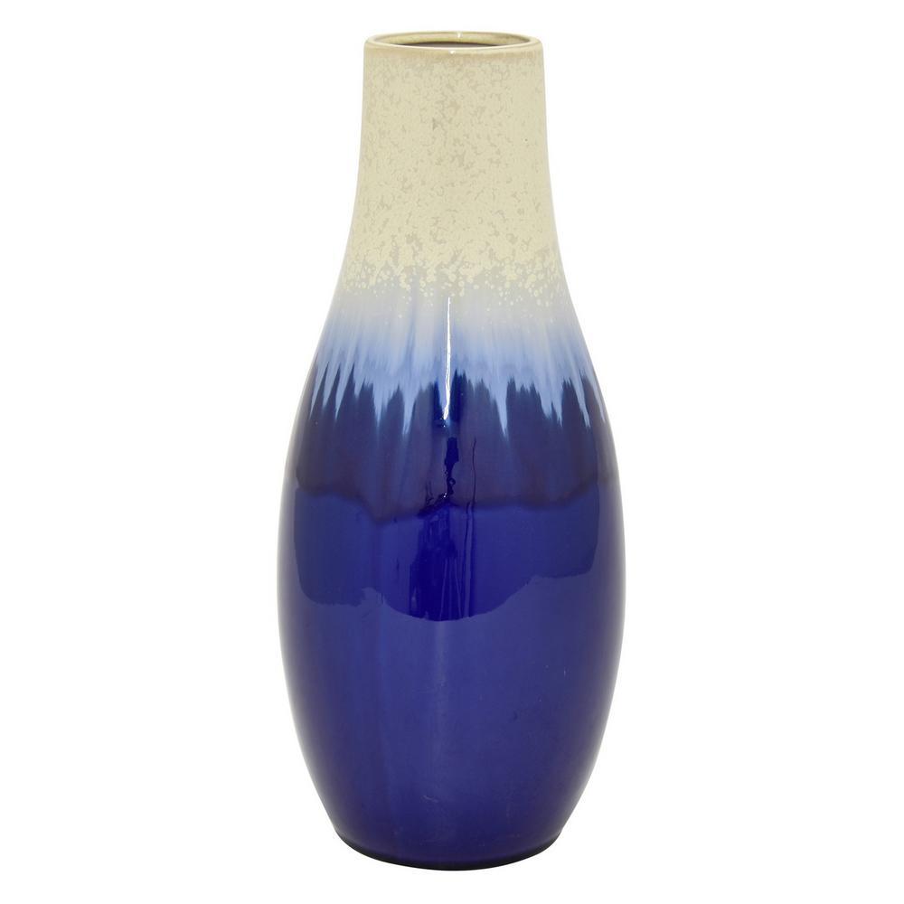 15 in. Blue Ceramic Vase