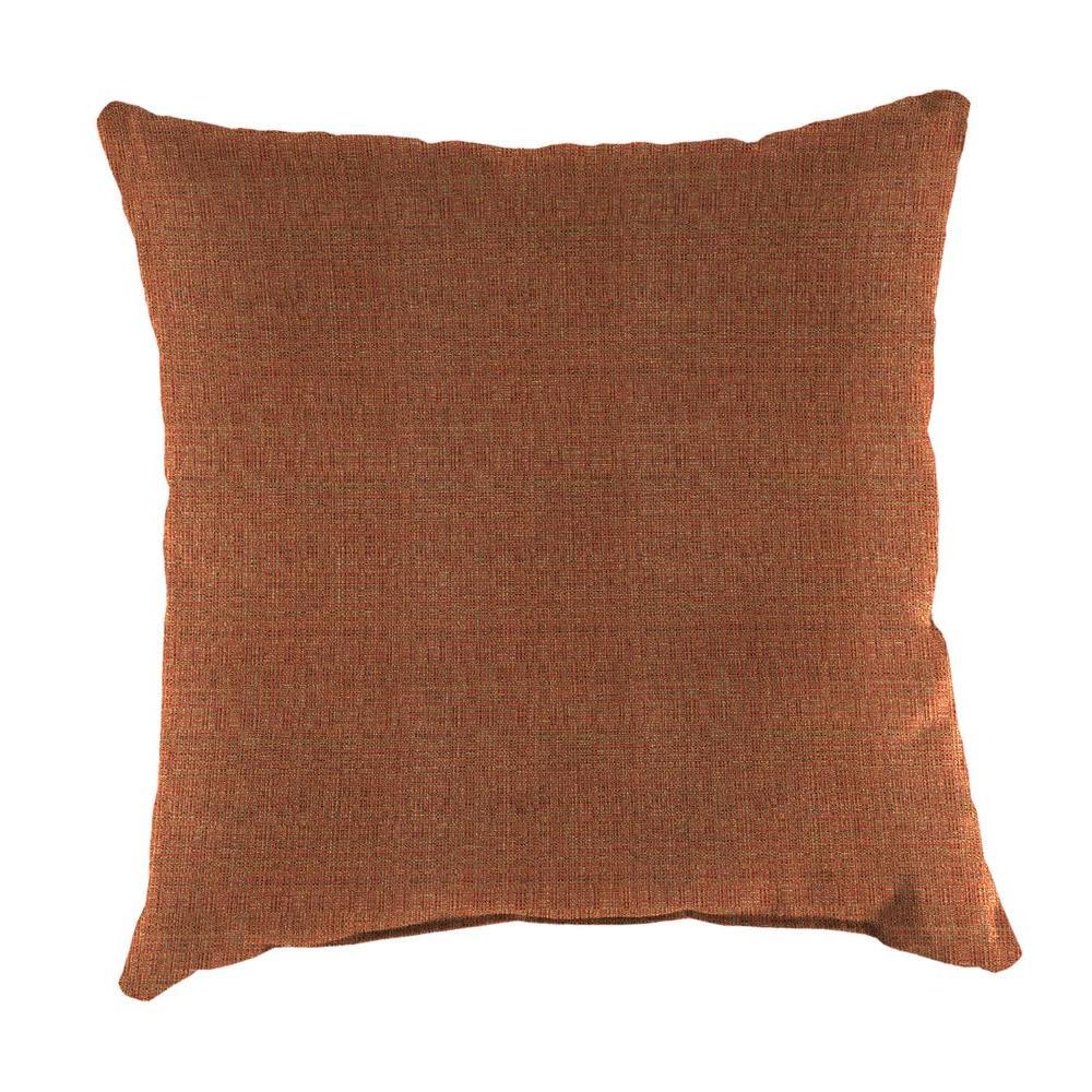 Sunbrella Linen Chili Square Outdoor Throw Pillow
