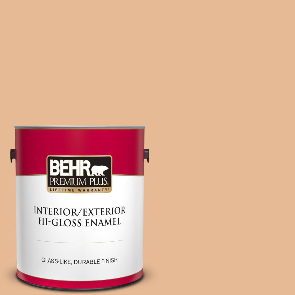 Behr Premium Plus 1 Gal 280c 3 Fresh Praline Hi Gloss Enamel Interior Exterior Paint 840001 The Home Depot