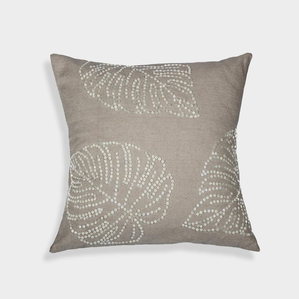 A1HC Leaf MOP pillow 100% Beige Cotton Decorative Pillow RCC-1469