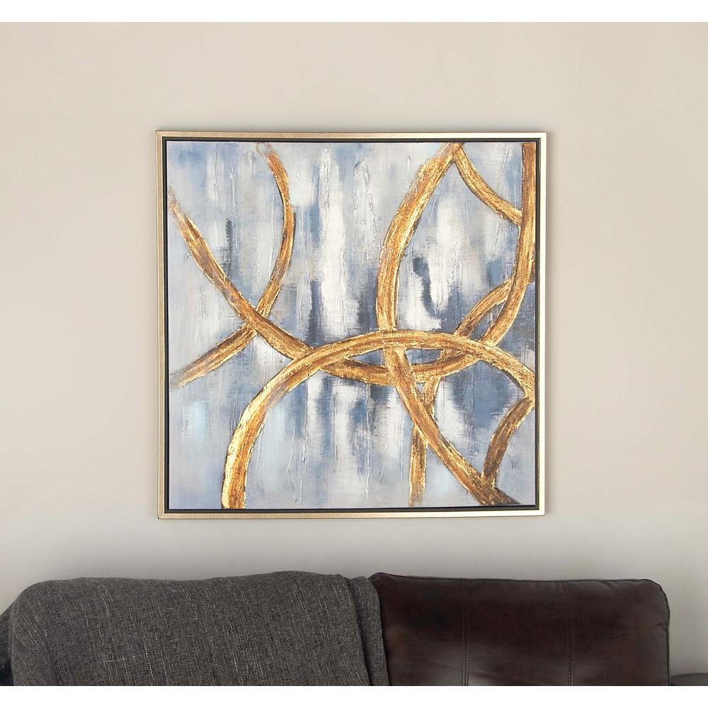 32 in x 32 in abstract linked circles framed hand painted canvas wall art