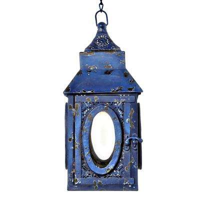 Outdoor 0.5-Watt Navy Integrated LED Hanging Pendant with Punched Metal Lace Design