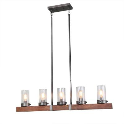 5-Light Aged Silver Linear Wood Chandelier with Glass Shade
