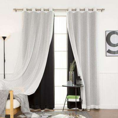 84 in. L uMIXm Black Sheer Checkered and Blackout Curtain (4-Pack)