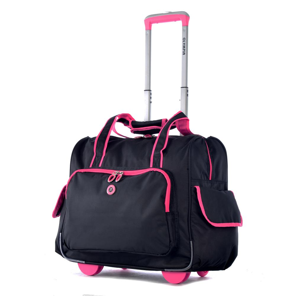 Rave Fashion Black and Pink Rolling Overnighter with Add-A-Bag Sleeve