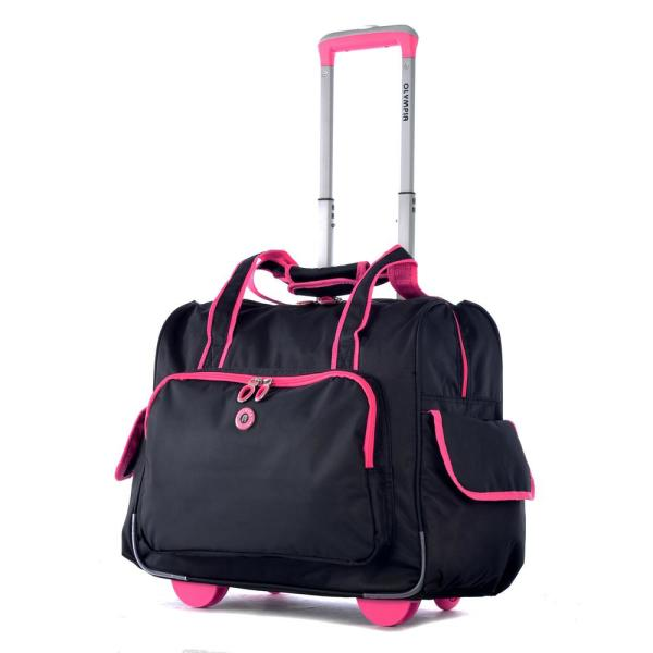 907d70384ec Olympia USA Rave Fashion Black and Pink Rolling Overnighter with Add ...