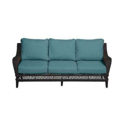 Woodbury Dark Brown Wicker Outdoor Patio Sofa with CushionGuard Charleston Blue-Green Cushions