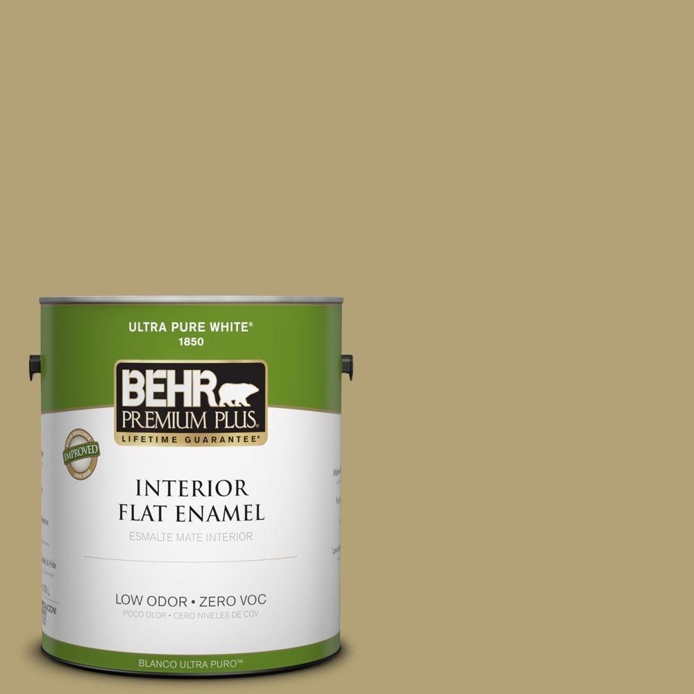 BEHR Premium Plus 1-gal. #PMD-101 Green Fig Zero VOC Flat Enamel Interior Paint-DISCONTINUED