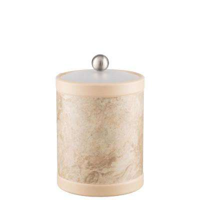 Sand Stone 2 Qt. Tall Tan Ice Bucket with Bale Handle and Acrylic Lid