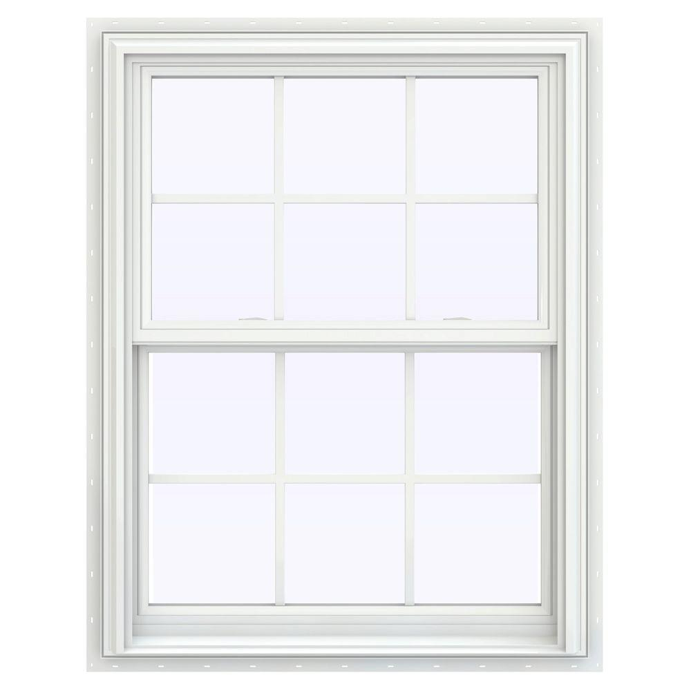 V 2500 Series White Vinyl Double Hung Window With Colonial Grids Grilles