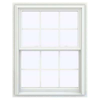 31.5 in. x 47.5 in. V-2500 Series White Vinyl Double Hung Window with Colonial Grids/Grilles