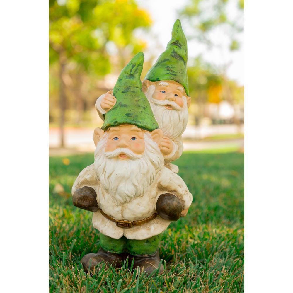 Beau Alpine 2 Gnomes Playing Garden Statue
