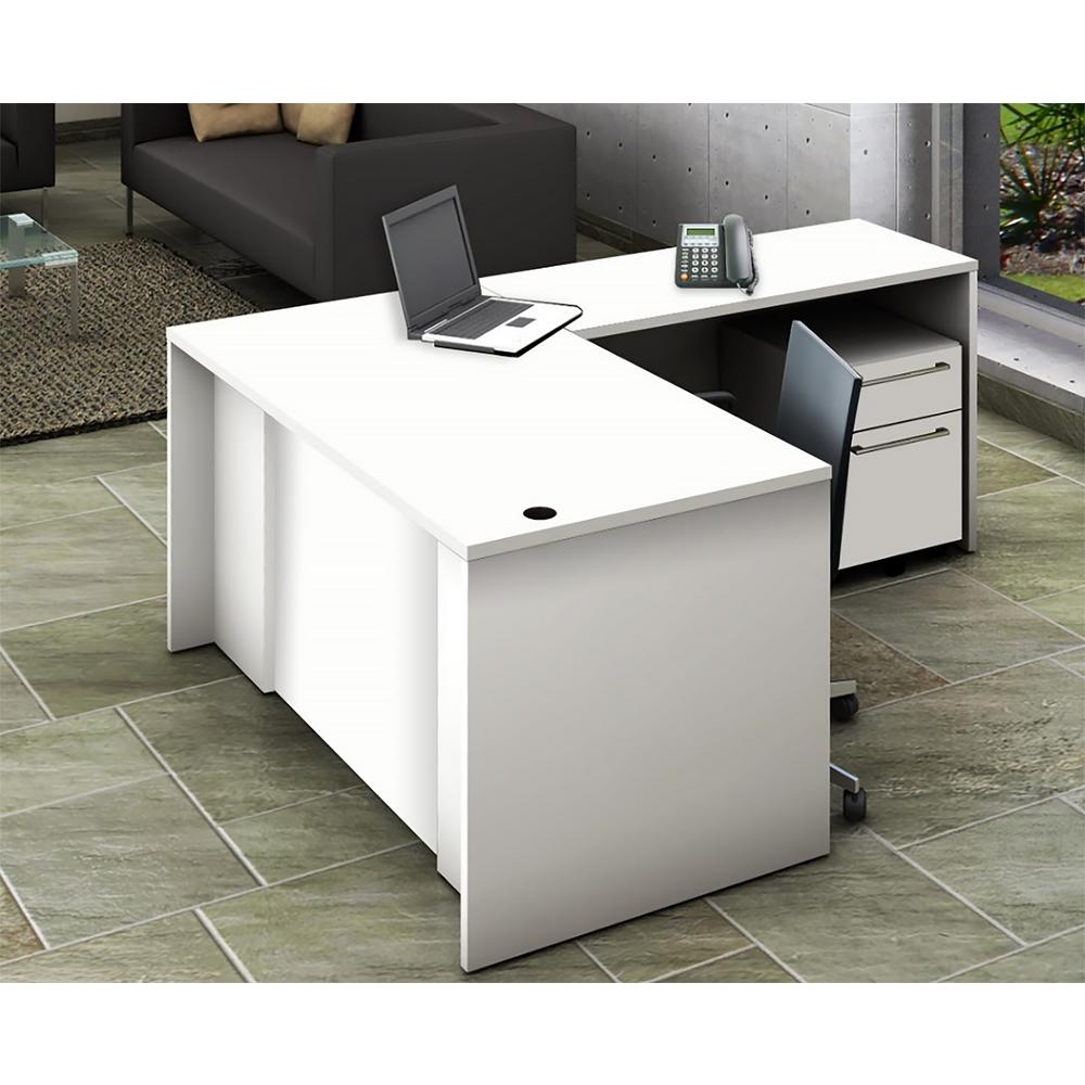 3-Piece White Office Reception Desk Collaboration Center