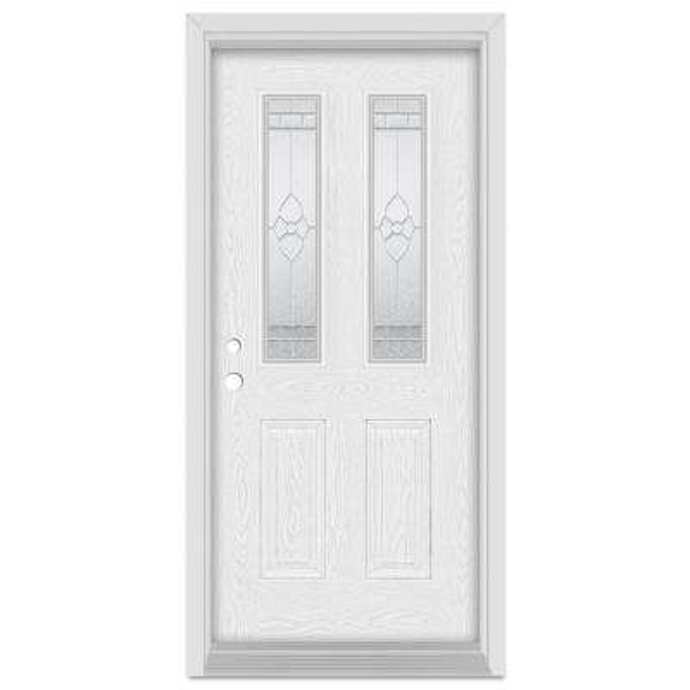 33.375 in. x 83 in. Traditional Right-Hand 2-Lite Zinc Finished Fiberglass Oak Woodgrain Prehung Front Door Brickmould