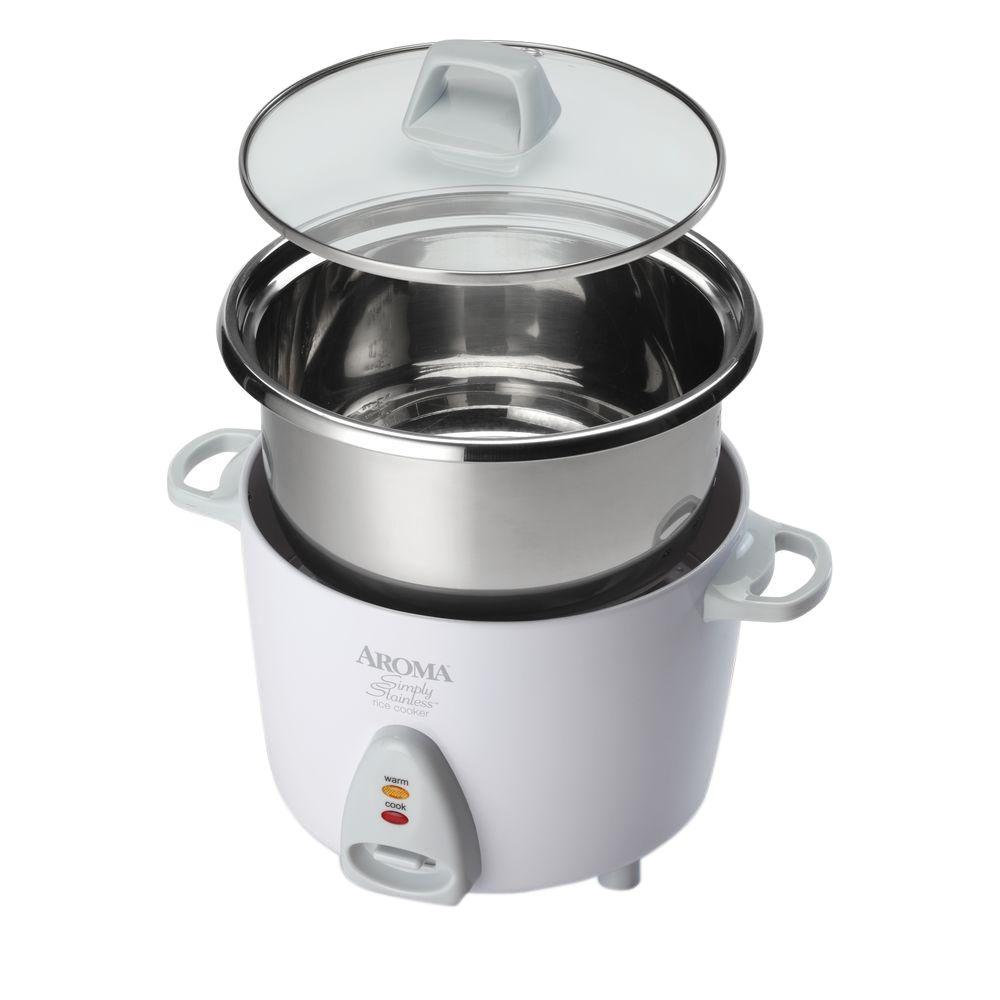 Aroma Housewares Simply Stainless 6-Cup Rice Cooker, White