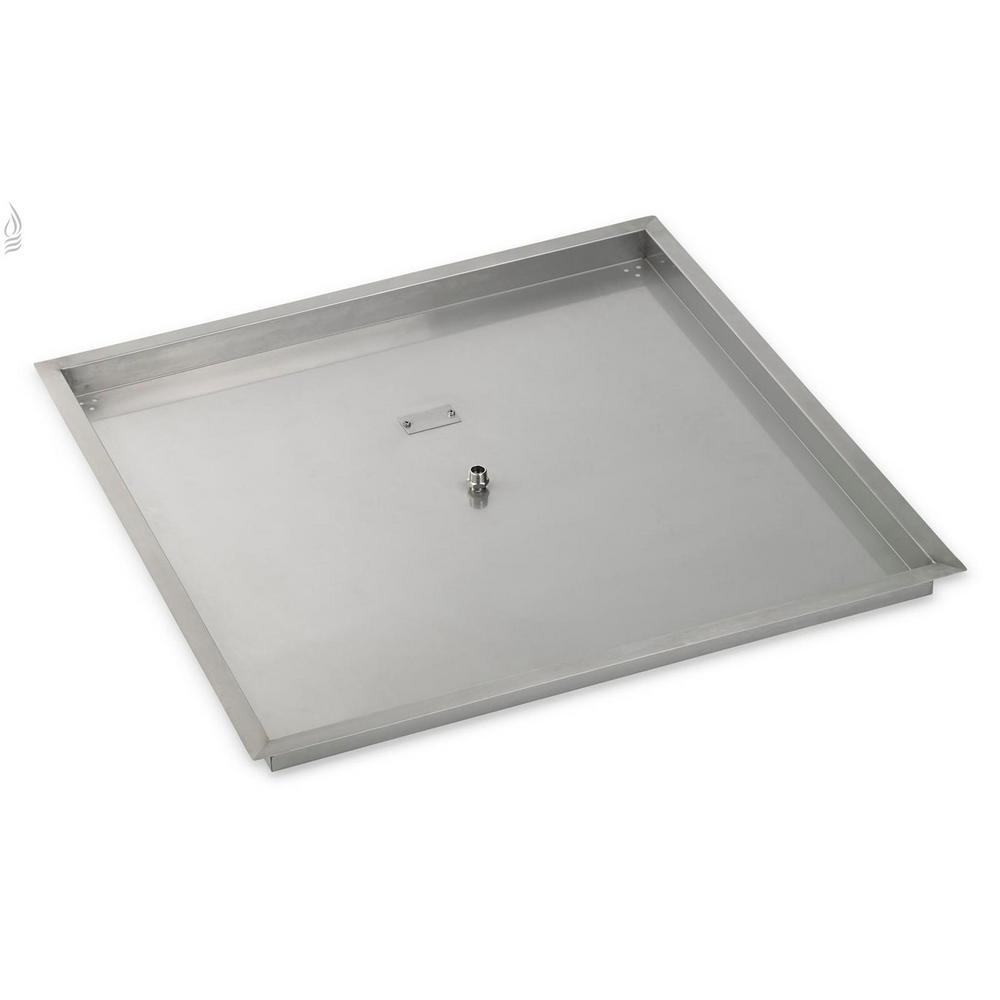 American Fire Glass 36 in. sq. Stainless Steel Drop-In Fire Pit Pan (1/2 in. Nipple)