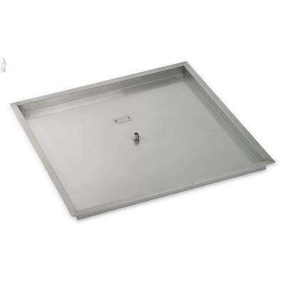 36 in. sq. Stainless Steel Drop-In Fire Pit Pan (1/2 in. Nipple)