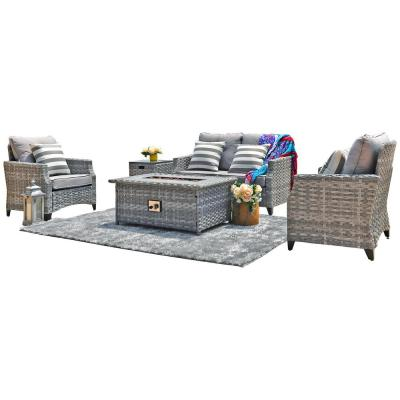 Moda 5-Piece Wicker Patio Conversation Set with Gas Fire Pit Table and Gray Cushions