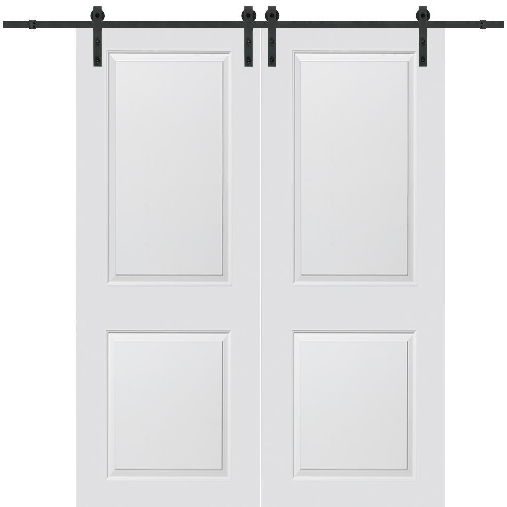 Mmi Door 60 In X 84 In Cambridge Molded Solid Core Primed Mdf Smooth Surface Double Barn Door