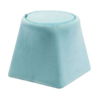 Botanical Light Blue Velvet Accent Ottoman
