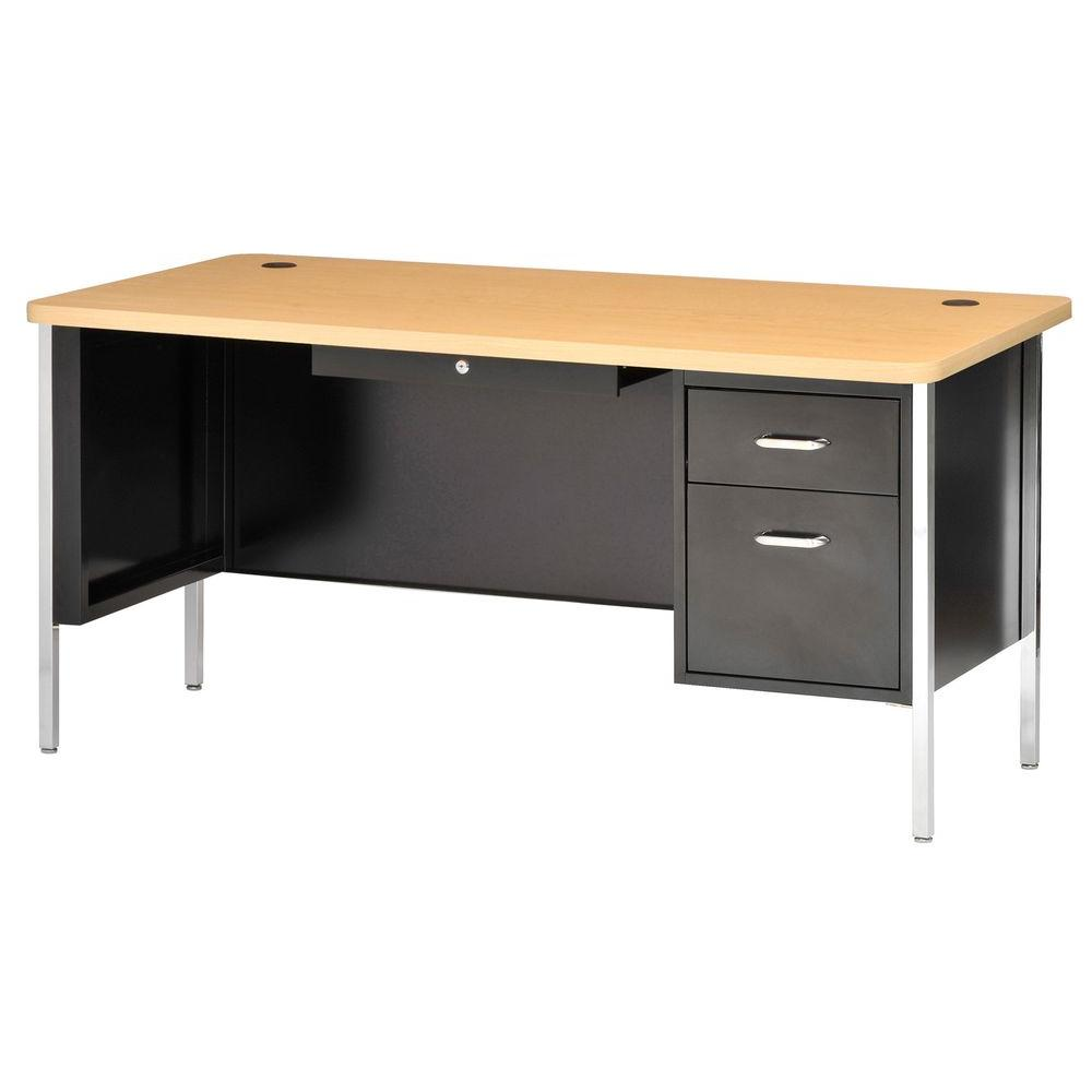 Sandusky 30 in. H x 60 in. W x 30 in. D 600 Series Single Pedestal Steel Desk in Black/Maple