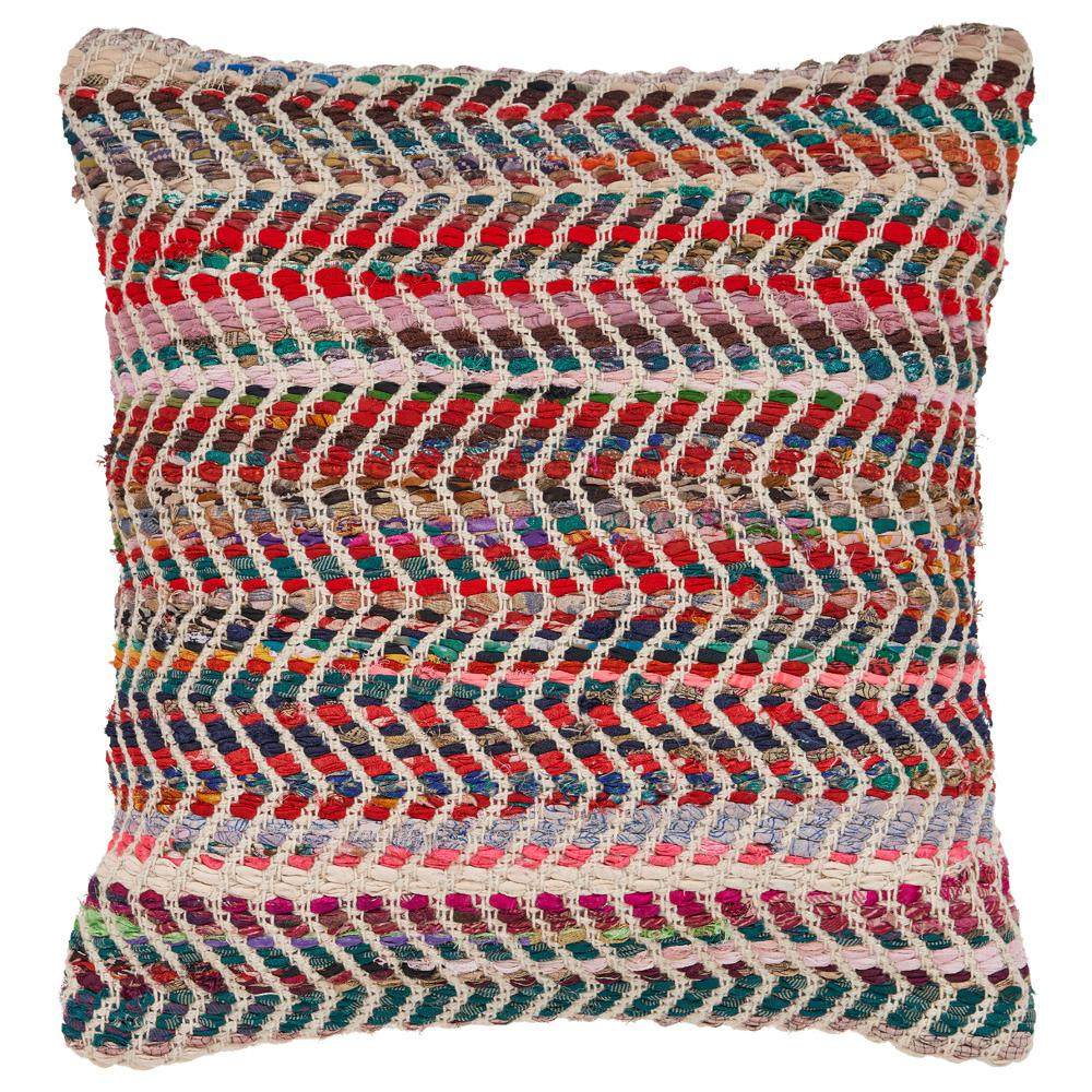 Zigzag 18 in. x 18 in. Standard Chevron Multi Color Throw