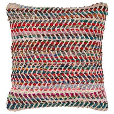 Zigzag 18 in. x 18 in. Standard Chevron Multi Color Throw Pillow