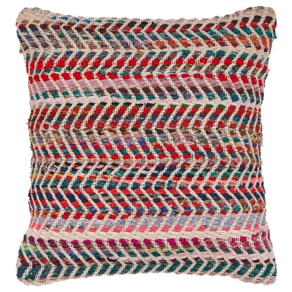 Zigzag 18 in. x 18 in. Standard Chevron Multi Color Throw Pillow