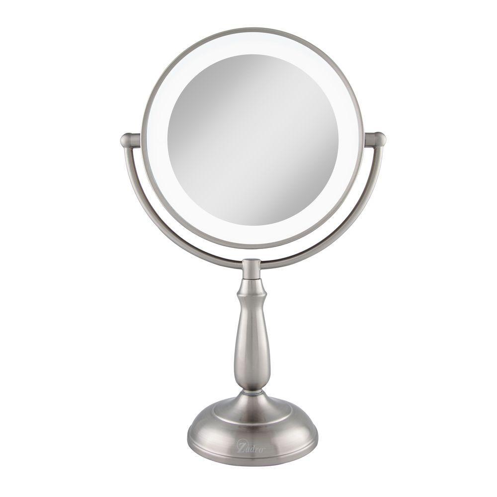 7.5 in. x 17.25 in. Smart Touch Dimming LED Freestanding Bi-View 10X/1X Vanity Beauty Makeup Mirror in Satin Nickel