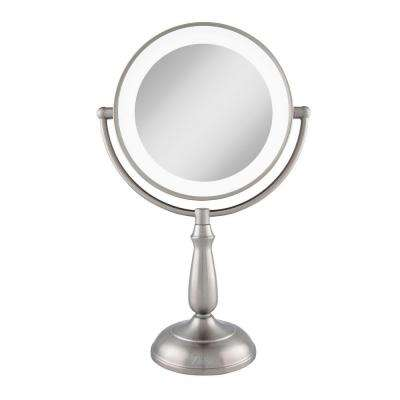 7.5 in. x 17.25 in. Dimmable LED Lighted Touch Vanity Makeup Mirror in Satin Nickel