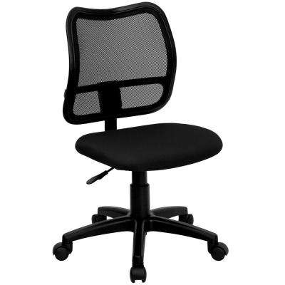 Mid-Back Mesh Swivel Task Chair with Black Fabric Padded Seat