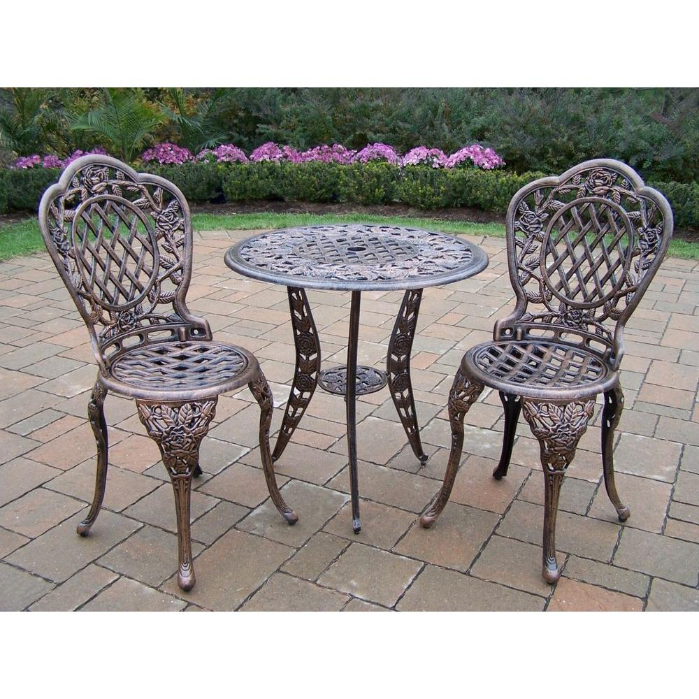 Genial Oakland Living Tea Rose 3 Piece Patio Bistro Set
