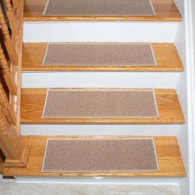 Escalier Collection Beige 8 in. x 26 in. Rubber Back Stair Tread (Set of 5)