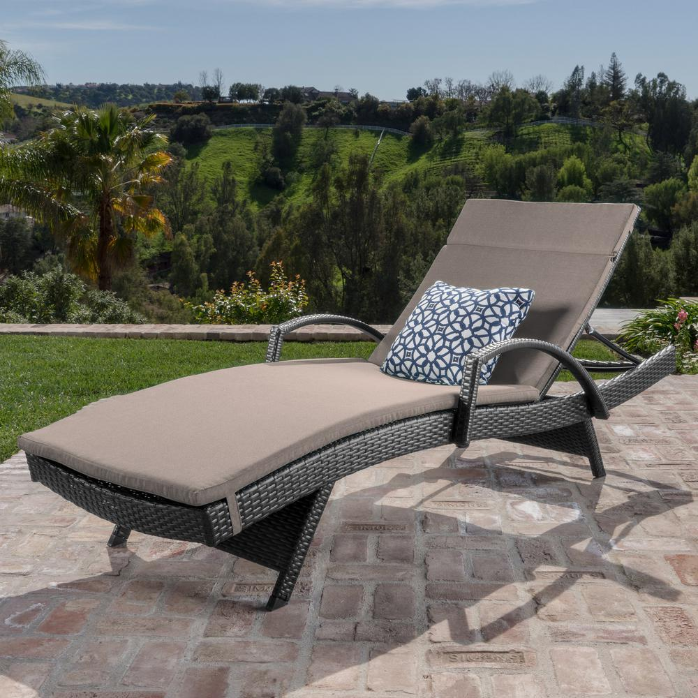 Noble House Miller Grey Wicker Outdoor Chaise Lounge with ...