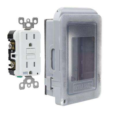 1-Gang Extra Duty Non-Metallic Low Profile While-In-Use Weatherproof Horizontal/Vertical Receptacle Cover and GFCI, Gray